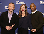 John Benjamin Hickey, Allison Janney, and Corey Hawkins attend the 'Six Degrees Of Separation' Cast Meet & Greet at The New 42nd Street Studios on March 1, 2017 in New York City.