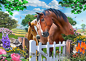 Howard, REALISTIC ANIMALS, REALISTISCHE TIERE, ANIMALES REALISTICOS, paintings,+horses,++++,GBHR876,#A# ,puzzles