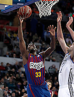 Real Madrid's Mirza Begic (r) and FC Barcelona Regal's Pete Mickeal during Spanish Basketball King's Cup match.February 07,2013. (ALTERPHOTOS/Acero) /Nortephoto