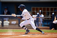 Charlotte Stone Crabs second baseman Vidal Brujan (2) bats during a Florida State League game against the Dunedin Blue Jays on April 17, 2019 at Charlotte Sports Park in Port Charlotte, Florida.  Charlotte defeated Dunedin 4-3.  (Mike Janes/Four Seam Images)