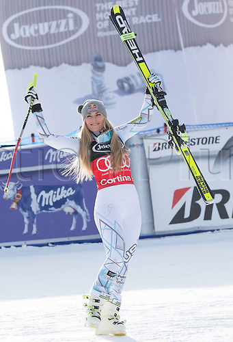 24.01.2016. Cortina d Ampezzo, Italy. FIS World Cup Womens Super G Downhill. Winner Lindsey Vonn of the USA on podium during the award ceremony