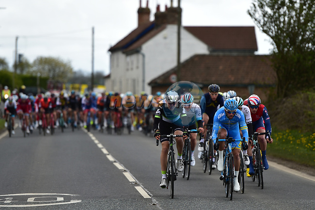 The first of the breakaways during Stage 1 of the Tour de Yorkshire 2017 running 174km from Bridlington to Scarborough, England. 28th April 2017. <br /> Picture: ASO/P.Ballet | Cyclefile<br /> <br /> <br /> All photos usage must carry mandatory copyright credit (&copy; Cyclefile | ASO/P.Ballet)