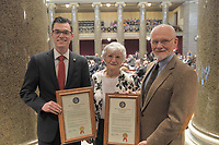 Photo Submitted Representative Deaton (left) with the Bearbowers on the floor of the House of Representatives.