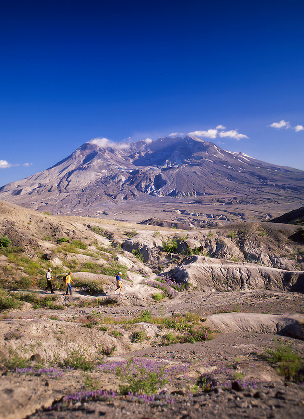 Hikers Making Their Way to Plains of Abraham, Mt. St. Helens National Volcanic Monument, Washington, US