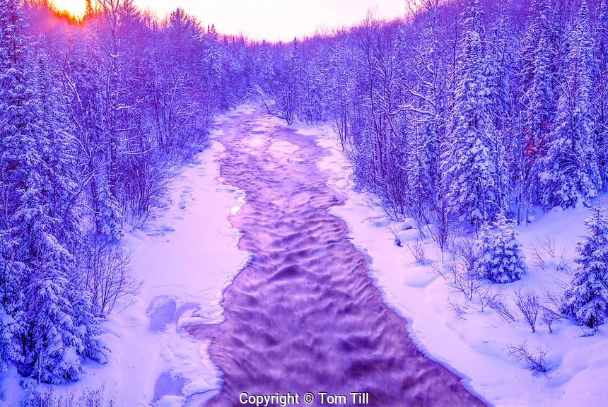 Icy winter Stream, Ottawa National Forest, Michigan, Michigan Upper Penninsula, January