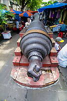 Indonesia, Java, Jakarta. Cannon Si Jagur close to Cafe Batavia in Kota. A symbol of war and fertility.