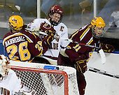 Jay Barriball (Minnesota - 26), Mike Brennan (BC - 4), Mike Hoeffel (Minnesota - 11) - The Boston College Eagles defeated the University of Minnesota Golden Gophers 5-2 on Saturday, March 29, 2008, in the NCAA Northeast Regional Semi-Final at the DCU Center in Worcester, Massachusetts.