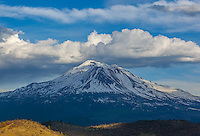 Siskiyou County, CA<br /> View of Mount Shasta with scattered storm and rain clouds, from Shasta Valley