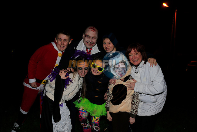 Shelby Kierans, Kim Farrell, Samara Dunne, Roshenda Farrell Kyle Cluskey Barry Farrell and Kyle Black<br /> holloween night around Drogheda.<br /> Picture: www.newsfile.ie