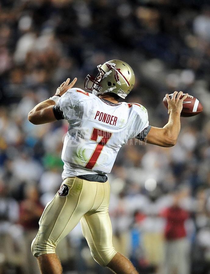 Sept. 19, 2009; Provo, UT, USA; Florida State Seminoles quarterback (7) Christian Ponder against the BYU Cougars at LaVell Edwards Stadium. Florida State defeated BYU 54-28. Mandatory Credit: Mark J. Rebilas-