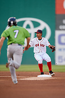Salem Red Sox shortstop Santiago Espinal (5) covers second base during a game against the Lynchburg Hillcats on May 10, 2018 at Haley Toyota Field in Salem, Virginia.  Lynchburg defeated Salem 11-5.  (Mike Janes/Four Seam Images)