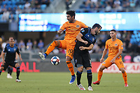SAN JOSE, CA - JUNE 26: A.J. DeLaGarza #20, Vako #11 during a Major League Soccer (MLS) match between the San Jose Earthquakes and the Houston Dynamo on June 26, 2019 at Avaya Stadium in San Jose, California.