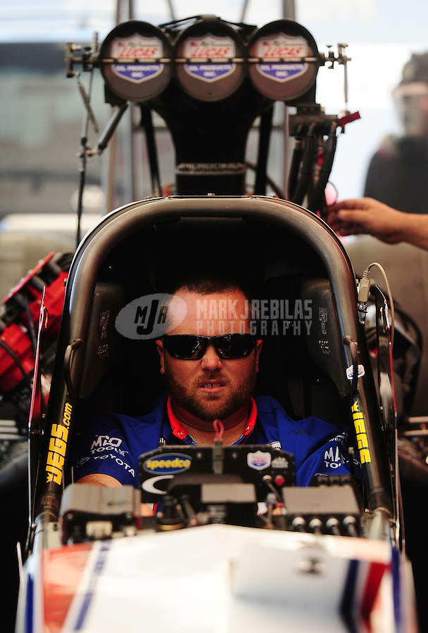 Sept. 24, 2011; Ennis, TX, USA: NHRA top fuel dragster driver Shawn Langdon during qualifying for the Fall Nationals at the Texas Motorplex. Mandatory Credit: Mark J. Rebilas-
