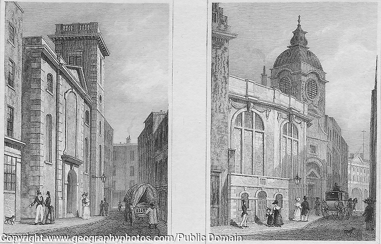 St Clement's church, Clement's Lanes, St Bennet Fisk church, Threadneedle Street, engraving 'Metropolitan Improvements, or London in the Nineteenth Century' London, England, UK 1828 , drawn by Thomas H Shepherd