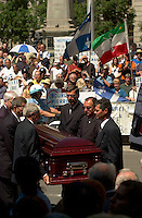 June 22, 2003, Montreal, Quebec, Canada.<br /> <br /> The Funerals of Pierre Bourgault, Communicator, Teacher and former politician are attended by independantist politicians and artists, <br />  June 22, 2003 at the Notre Dame Basilica in Montreal, Canada.<br /> <br /> Mandatory Credit: Photo by Pierre Roussel- Images Distribution. (&copy;) Copyright 2003 by Pierre Roussel
