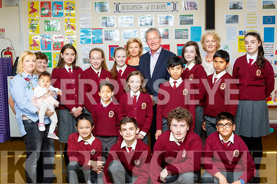 Education<br /> -------------<br /> The Hungarian Ambassador to Ireland, Istv&aacute;n S. P&aacute;lffy and his wife Judit (centre) who's residence is Fitzwilliam Place, Dublin, visited Moyderwell school last Wednesday morning to view the work done by the 6th class pupils on the 'Blue Star' programme, which explores the European union in all  it's context.