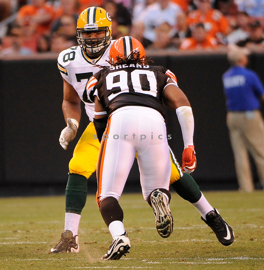 DEREK SHERROD, of the Green Bay Packers in action during the Packers game against the Cleveland Browns on August 13, 2011 at Cleveland Browns Stadium in Cleveland, Ohio. The Browns beat the Packers 27-17.