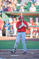 Franklin Navarro (41) of the Orem Owlz bats against the Ogden Raptors in Pioneer League action at Lindquist Field on June 27, 2017 in Ogden, Utah. Ogden defeated Orem 14-5. (Stephen Smith/Four Seam Images)