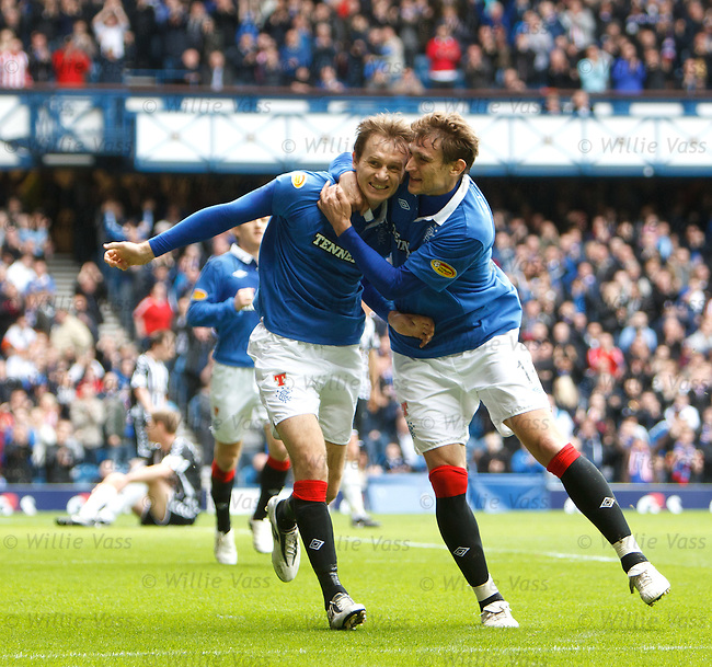 Sasa Papac scores for Rangers and celebrates with Nikica Jelavic