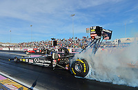 Oct. 26, 2012; Las Vegas, NV, USA: NHRA top fuel dragster driver Bob Vandergriff Jr during qualifying for the Big O Tires Nationals at The Strip in Las Vegas. Mandatory Credit: Mark J. Rebilas-