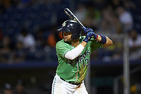 Andres Blanco (13) of the Gwinnett Stripers at bat against the Scranton/Wilkes-Barre RailRiders at BB&T BallPark on August 16, 2019 in Lawrenceville, Georgia. The Stripers defeated the RailRiders 5-2. (Brian Westerholt/Four Seam Images)