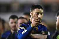 Matt Banahan of Bath Rugby celebrates the win. Anglo-Welsh Cup Semi Final, between Bath Rugby and Northampton Saints on March 9, 2018 at the Recreation Ground in Bath, England. Photo by: Patrick Khachfe / Onside Images