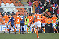 Blackpool's Mark Howard is swarmed by team-mates after saving Walsall's Matthew Jarvis (not in picture) <br /> <br /> Photographer Kevin Barnes/CameraSport<br /> <br /> The EFL Sky Bet League One - Blackpool v Walsall - Saturday 9th February 2019 - Bloomfield Road - Blackpool<br /> <br /> World Copyright © 2019 CameraSport. All rights reserved. 43 Linden Ave. Countesthorpe. Leicester. England. LE8 5PG - Tel: +44 (0) 116 277 4147 - admin@camerasport.com - www.camerasport.com