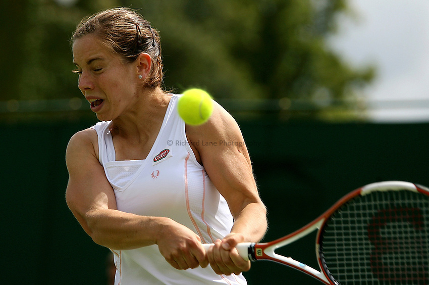 Photo: Paul Thomas..Wimbledon Championships. 28/06/2007...Katie O'Brien (GBR) during her game with Michaella Krajicek.