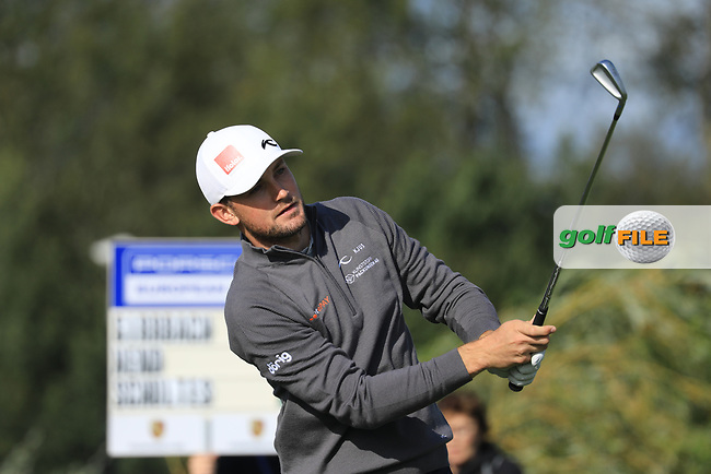 Joel Girrbach (SUI) in action during the first round of the Porsche European Open , Green Eagle Golf Club, Hamburg, Germany. 05/09/2019<br /> Picture: Golffile   Phil Inglis<br /> <br /> <br /> All photo usage must carry mandatory copyright credit (© Golffile   Phil Inglis)