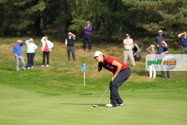 Andrea Lee (USA) on the 1st green of the Mixed Fourballs during the 2014 JUNIOR RYDER CUP at the Blairgowrie Golf Club, Perthshire, Scotland. <br /> Picture:  Thos Caffrey / www.golffile.ie