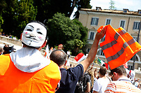 Roma June 2nd 2020. Italy, Piazza del Popolo. Demonstration of the right movement 'Orange Vests' against the government in occasion of the anniversary of the Republic. The protesters wear orange gilet<br /> Photo Samantha Zucchi Insidefoto