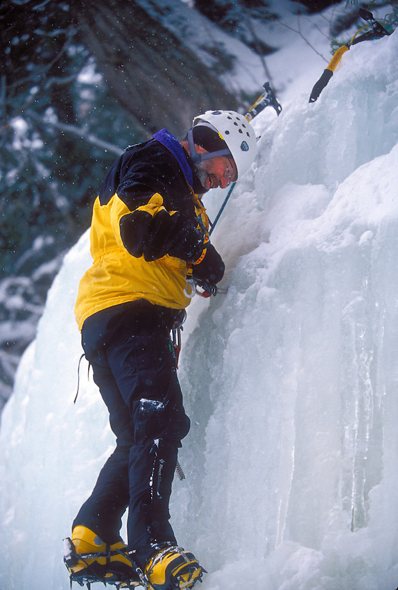 An ice climber in Pictured Rocks National Lakeshore near Munising, Mich.