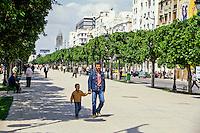 Tunis, Tunisia.  Avenue Habib Bourguiba Street Scene.