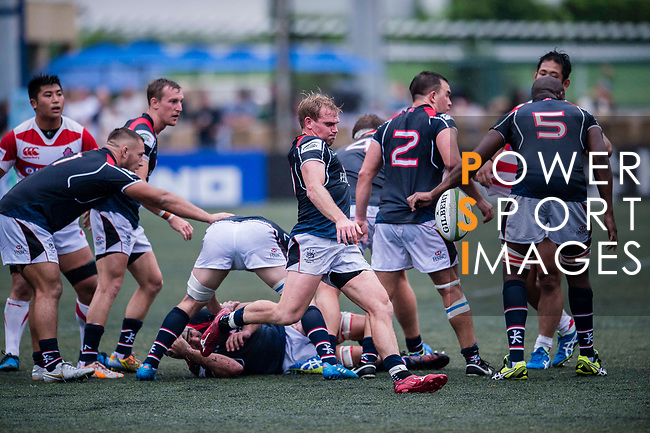 Jamie Hood of Hong Kong (C) in action during the Asia Rugby Championship 2017 match between Hong Kong and Japan on May 13, 2017 in Hong Kong, China. Photo by Marcio Rodrigo Machado / Power Sport Images