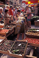 market day, Switzerland, Lausanne, Vaud, Produce for sale at the open air market in the city of Lausanne.