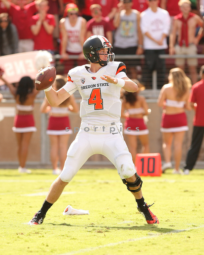 Oregon State Beavers Sean Mannion (4) during a game against the Stanford Cardinal on October 25, 2014 at Stanford Stadium in Stanford, CA. Stanford beat Oregon State 38-14.