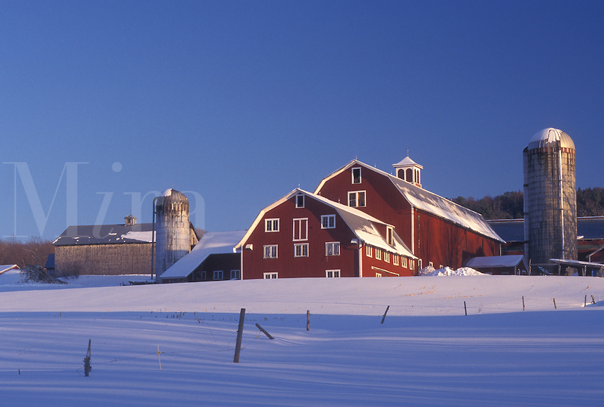 farm, red barn, Vermont, VT, Red barn on a snow-covered farm in winter in Barnet.