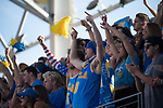 LOS ANGELES, CA - DECEMBER 03:  Fans cheer during the Division I Men's Water Polo Championship held at the Uytengsu Aquatics Center on the University of Southern California campus on December 3, 2017 in Los Angeles, California. UCLA defeated USC 5-7 to win the National Championship. (Photo by Justin Tafoya/NCAA Photos via Getty Images)