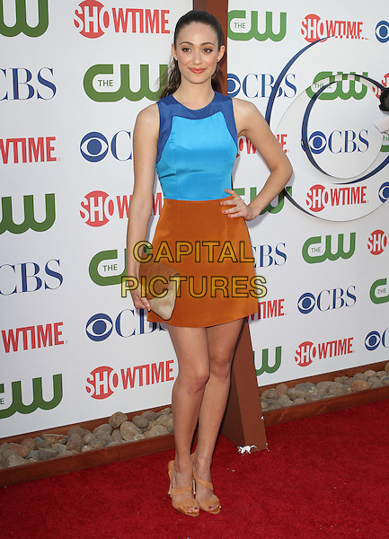 Emmy Rossum.CBS, CW and Showtime Summer 2011 TCA Party held at The Pagoda, Beverly Hills, California, USA..August 3rd, 2011.full length top brown skirt hand on hip clutch bag beige blue sleeveless.CAP/ADM/KB.©Kevan Brooks/AdMedia/Capital Pictures.