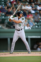 Designated hitter Sean Roby (33) of the Augusta GreenJackets bats in a game against the Greenville Drive on Thursday, August 29, 2019, at Fluor Field at the West End in Greenville, South Carolina. Augusta won, 11-0. (Tom Priddy/Four Seam Images)