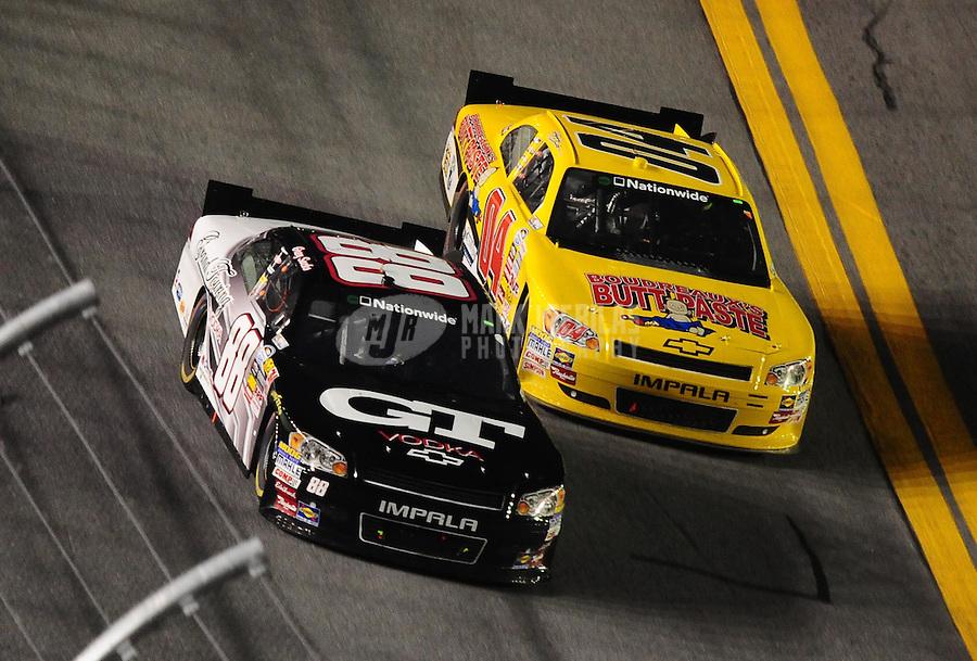 Jul. 2, 2010; Daytona Beach, FL, USA; NASCAR Nationwide Series driver Greg Sacks (88) races alongside Jeremy Clements (04) during the Subway Jalapeno 250 at Daytona International Speedway. Mandatory Credit: Mark J. Rebilas-