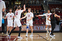 STANFORD, CA - January 17, 2019: Kyler Presho, Jordan Ewert, Paul Bischoff, Jaylen Jasper, Kyle Dagostino at Maples Pavilion. The Stanford Cardinal defeated UC Irvine 27-25, 17-25, 25-22, and 27-25.