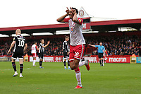 Kurtis Guthrie of Stevenage scores the first goal for his team and celebrates during Stevenage vs Grimsby Town, Sky Bet EFL League 2 Football at the Lamex Stadium on 12th October 2019