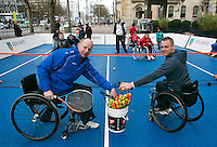 08-02-14, Netherlands,RotterdamAhoy, ABNAMROWTT,, Streettennis in wheelchairs in the center of Rotterdam with Maikel Scheffers (NED)  and Ronald Vink(L)<br /> Photo:Tennisimages/Henk Koster