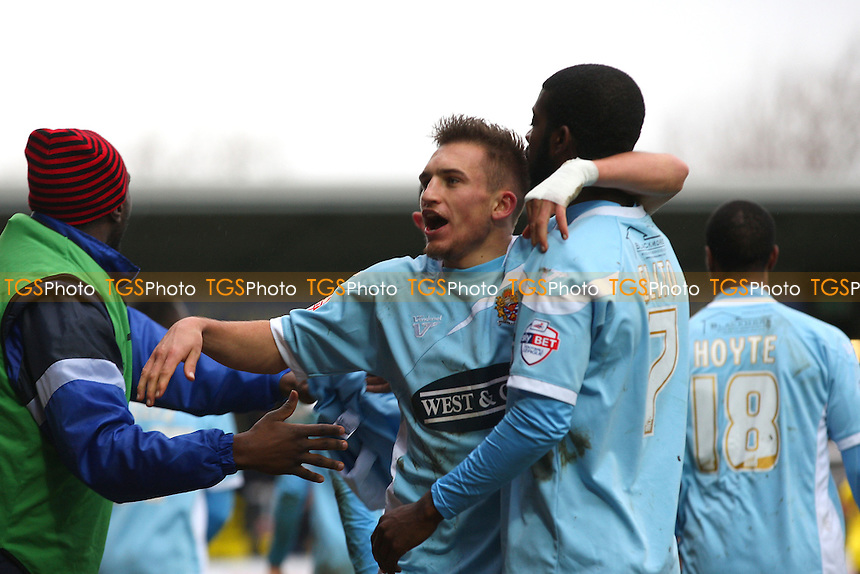 Lawson D'Ath of Dagenham and Redbridge is congratulated after scoring the opening goal - Burton Albion vs Dagenham and Redbridge, Ky Bet League Two football at the Pirelli Stadium - 15/02/14 - MANDATORY CREDIT: Dave Simpson/TGSPHOTO - Self billing applies where appropriate - 0845 094 6026 - contact@tgsphoto.co.uk - NO UNPAID USE