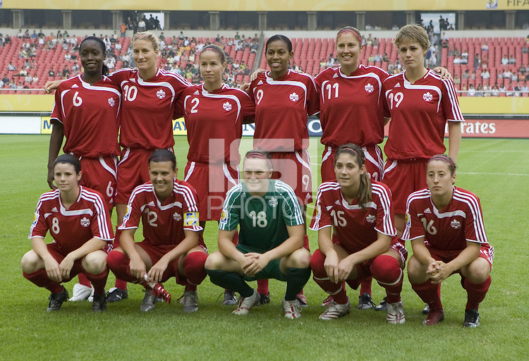Canada lines up before their first round game at the 2007 FIFA Women's World Cup at Hangzhou Dragon Stadium in Hangzhou, China.  Canada defeated Ghana, 4-0.