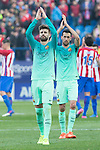 Gerard Pique and Sergio Busquets of Futbol Club Barcelona during the match of Spanish La Liga between Atletico de Madrid and Futbol Club Barcelona at Vicente Calderon Stadium in Madrid, Spain. February 26, 2017. (Rodrigo Jimenez / ALTERPHOTOS)