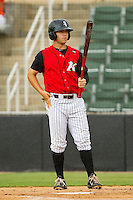 Joey DeMichele (17) of the Kannapolis Intimidators gets ready to hit against the Rome Braves at CMC-Northeast Stadium on August 5, 2012 in Kannapolis, North Carolina.  The Intimidators defeated the Braves 9-1.  (Brian Westerholt/Four Seam Images)