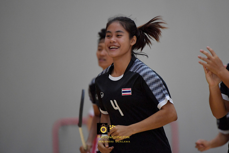 Thailand's Ruenrudee Saubsing in action during the World Floorball Championships 2017 Qualification for Asia Oceania Region - Japan v Thailand at ASB Sports Centre , Wellington, New Zealand on Saturday 4 February 2017.<br /> Photo by Masanori Udagawa<br /> www.photowellington.photoshelter.com.