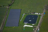 aerial view above solar panel array vineyard Napa Valley California